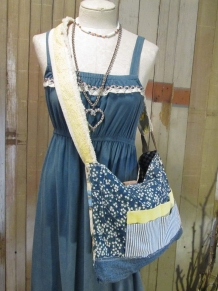 adjustable calico bag with vintage fabric and lace
