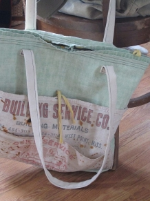 Big tote bag made of vintage tent canvas