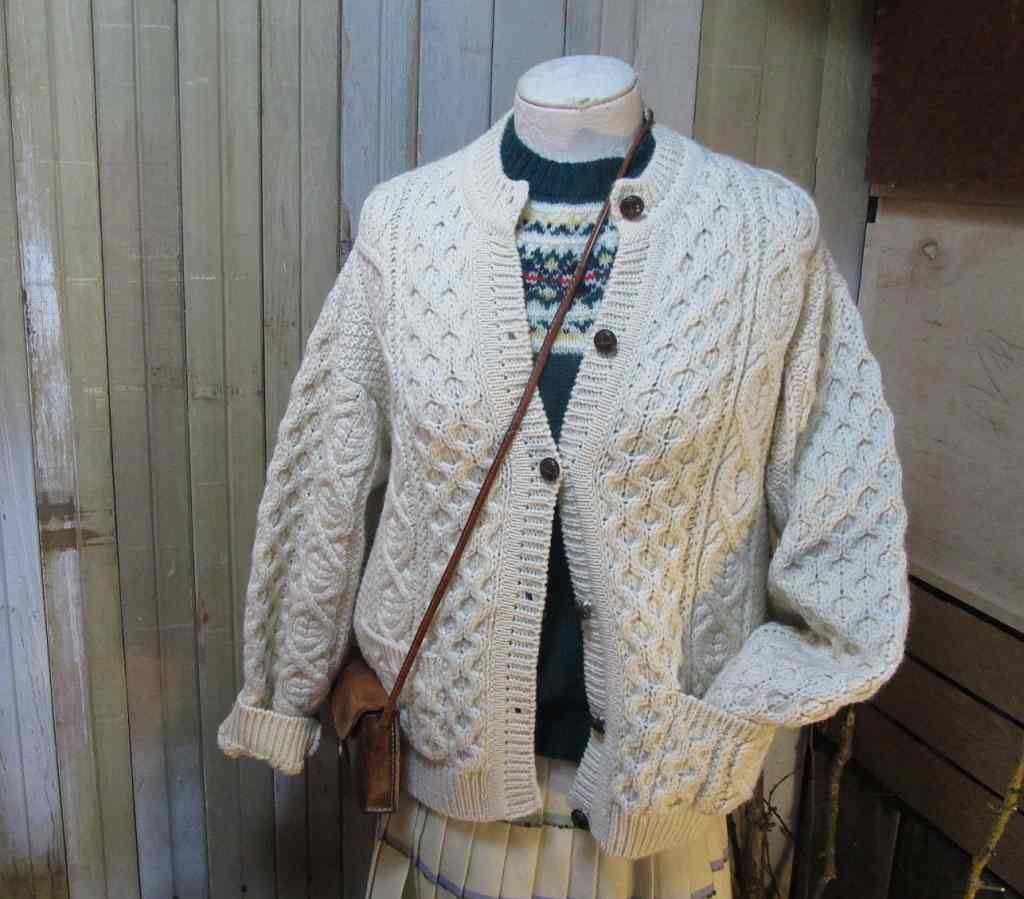 Vintage Aran Cardigan Knitting Pattern : Irish Aran Cardigan Sweater Vintage Cable Cardigan ...