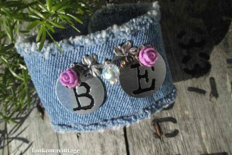 BE Denim Charm Bracelet glass crystal Purple roses Bohemian Country garden Cuff