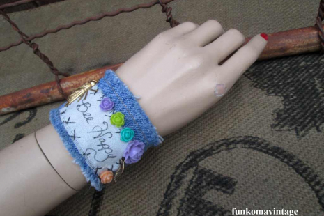 Bee Happy Boho Denim Charm Bracelet