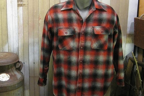 30s vintage wool Shadow Plaid Shirt Gray Red  Eskimo elbow patches