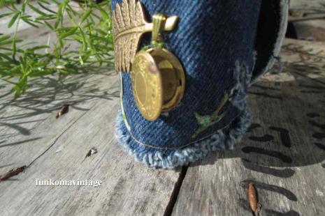 Romantic Fern and brass Locket Denim Charm Bracelet