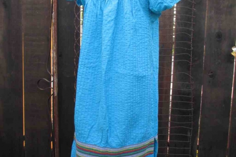 Vintage Mexican 70s Turquoise Tucked cotton Dress