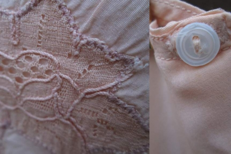 30s Shell Pink Silk tap Panty Vintage 1930s lace