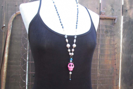 Pretty Pink Skull Mexican assemblage turquoise rose necklace