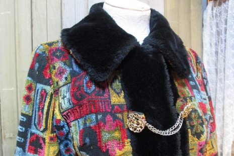 collar view Vintage 60s Tapestry Coat Russian style Mini Boho by funkomavintage