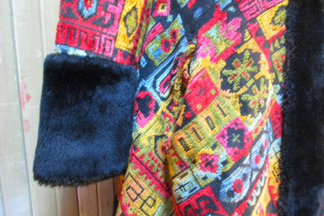 cuff view Vintage 60s Tapestry Coat Russian style Mini Boho by funkomavintage