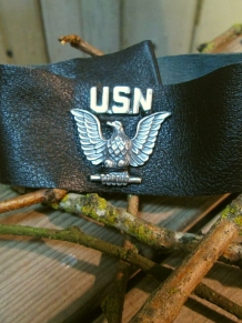 Military vintage Black Leather Cuff bracelet  handmade in USA jewelry
