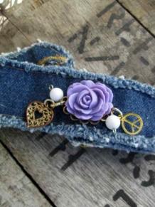 Peace Boho Denim Charm Bracelet Purple rose Cuff
