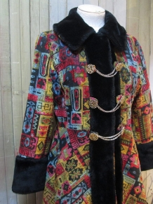 Vintage 60s Tapestry Coat Russian Princess Mini fit and flare by funkomavintage