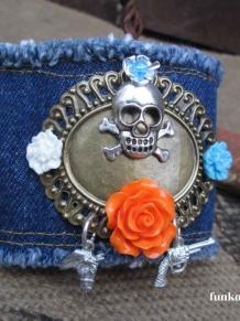 Guns and Horses Denim Bohemian Skull Cuff Bracelet