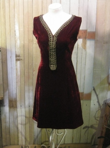 60s burgundy velvet dress with gold metallic trim