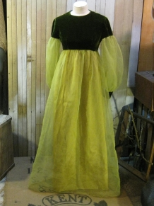 late 60s moss velvet and sheer yellowgreen chiffon