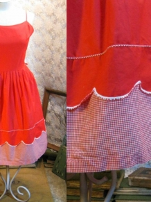 60s red gingham picnic sundress